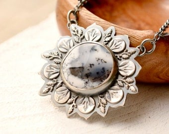 Dendritic Agate Necklace, Botanical Metalwork, Hand Stamped Silver, Nature Inspired Pendant, Oxidized Finish, Metalsmith Jewelry