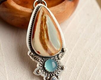 Silver Polychrome Jasper Necklace, Aqua Chalcedony Pendant, Unique Metalwork, Metalsmith Jewelry, Art Jewelry