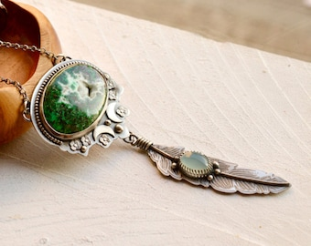 Chrysocolla Necklace, Silver Feather Necklace,Etched Metalwork, Stone Pendant, Boho Style Metalwork, Gift for Her, One of a Kind