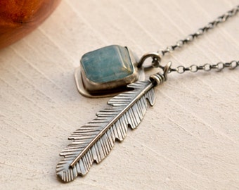 Handcrafted Silver Feather Charm Necklace, Aquamarine Charm Pendant, Boho Chic Jewelry, Metalsmithed Silver and Stone Jewelry, 925 Silver