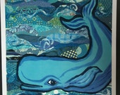 Blue Whale Limited Edition Print From Original Collage Painting