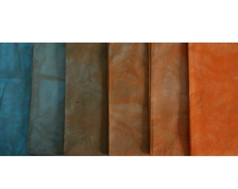 clear ORANGE to Blue Shades - Complimentry Cross - hand dyed Fabric - 6 pc Fat Quarter Gradation Bundle - Tuscan Rose COCB411