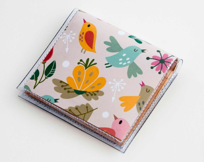 Handmade Vinyl Moo Square Card Holder - Amazing / case, vinyl, snap, wallet, paper, mini card case, moo case, square, birds, floral, pink