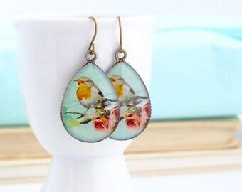 Robin Earrings, Nature Earrings, Gift For Mom, Bird Earrings, Robin's Egg Blue, Dangle Earrings, Woodland Earrings, Gift For Her