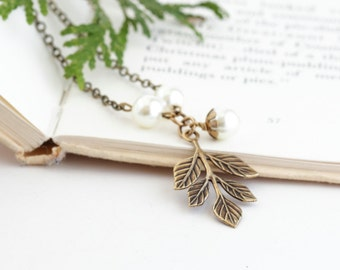 Brass Branch Necklace - Autumn Jewelry - Fall Fashion - Vintage Style Necklace - Woodland Jewelry - Rustic Necklace - Gift For Her