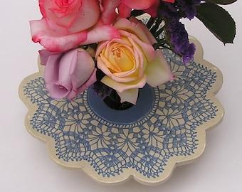 Blue & White Ceramic Lace Doily Vase, Handmade Pottery