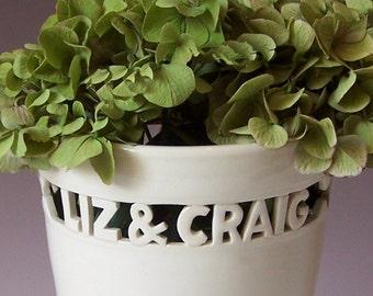 Custom Wedding Gift - Heirloom Vase with Names & Wedding Date / Anniversary
