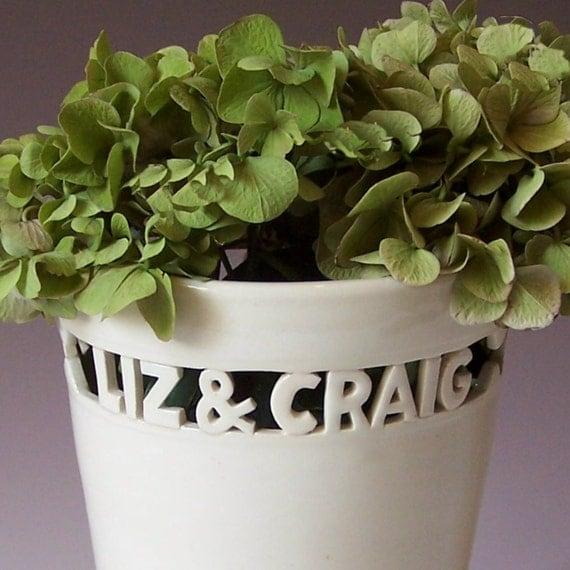 Personalised Vase Wedding Gift : Custom Wedding GiftHeirloom Vase with Names & Wedding Date ...