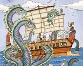 "The Oddyssey Dragon Hydra Greek Art Print 8""x 10"""