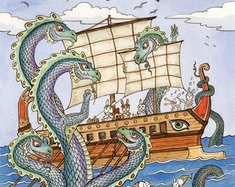 "The Oddyssey Dragon Hydra Greek Art Print 16""x 20"""