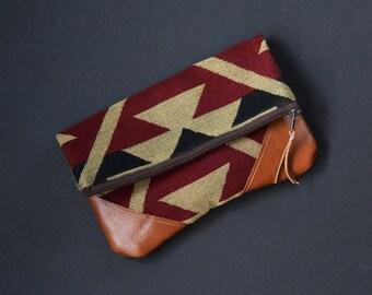 Fold-Over Clutch - Tan/Red/Burgundy/Orange