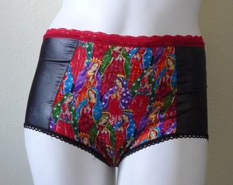 Virgen de Guadalupe Paneled High Waist Panties L XL