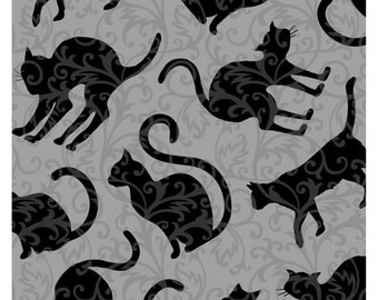 NEW from Henry Glass, Spellbound, Black Cats on Scoll on grey,  yard