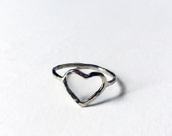 14k White Gold Open Heart Hammered Heart Handmade Ring