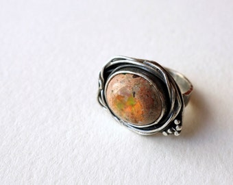 Mexican Cantera Opal Nest Ring in Sterling Silver
