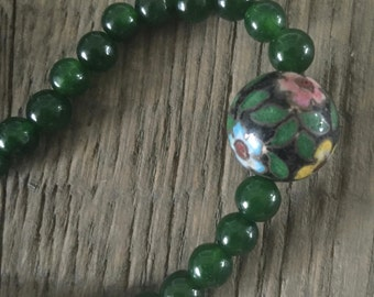 Vintage repurposed one of a kind jade green bead and antique black flower cloisonné bead necklace