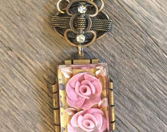 Vintage repurposed one of a kind lucite pink rose flower pendant and old rhinestone connector