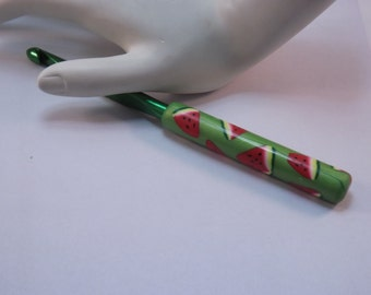 Ergonomic Polymer Clay Covered Crochet Hook Handcrafted Watermelon Slices Susan Bates K, 6.50mm