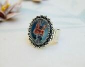 Fox Ring Victorian Fox Ring Animal Ring Portrait Ring Adjustable Ring