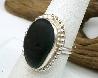 Sea Glass Jewelry Sea Glass Ring Green Multi English Sea Glass Ring English Sea Glass Jewelry Size 7.5 -  R-112