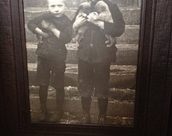 Two Little Boys with Puppies - Antique Photograph in a Folder - Gift or Display - Instant Ancestors