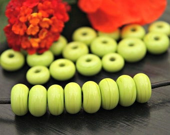 Set of TWENTY FOUR Handmade Artisan Lampwork Spacer Beads Set in Pastel Lime Green Beading Jewelry Supplies