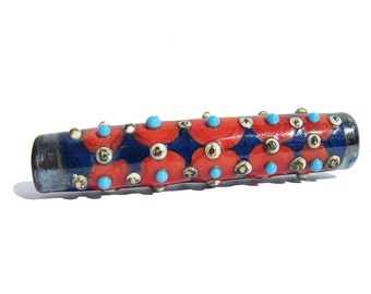 Handmade Lampwork Glass Focal Tube Bead Harlequin Coral Turquoise Navy Blue