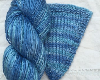 Silk Yarn - Hand Dyed Worsted weight - Shade: Cornflower (6)