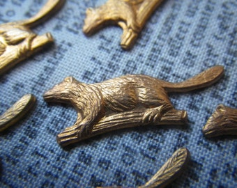 Tiny Beavers Vintage Brass Stampings 24x9mm 6 Pcs