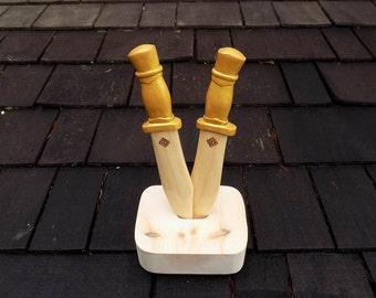 Golden  Pirate Dagger wooden toy Set
