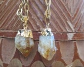 Raw Gold Dipped Citrine Stone Pendant Long Necklace - Brass Chain Yellow Crystal Jewelry - Minimalist Simple Gemstone - Gypsy