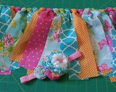 Turquoise Orange and Pink Rag Banner and Matching Headband Set Limited Edition