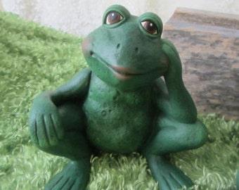 Ceramic Frog - The Thinker - Yard Art - Garden Decoration - Cute Ceramic Frog - Garden Art - Sitting Frog - Outdoor Decor - Gifts under 15