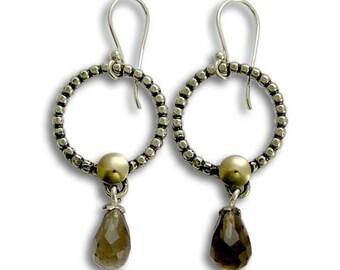 Dangle Silver Gold Earrings, Quartz Gemstone, Sterling Silver Earrings, Yellow Gold Earrings, Smoky Quartz Drop Earring - Rain dance E2095