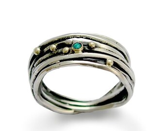 Silver ring, wrap silver wire band, opal ring, two tone ring, silver gold ring, silver band, blue stone ring, wire ring  - Good times R1512C