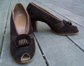 RARE Vintage WW11 1940s brown open toe cuban heels sz 9 9.5