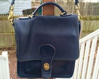 Vintage COACH Willis black leather messenger satchel purse handbag crossbody