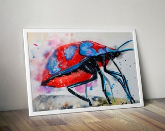 DIGITAL DOWNLOAD Harlequin Beetle, bug insect watercolor printable home decor wall art