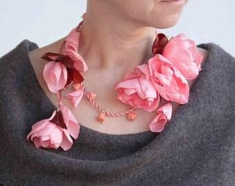 Floral necklace-fiber neckpiece from flowers-unique floral accessory