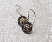 Petite Fine Silver Mixed Metal Oxidized Medallion Dangle Earrings