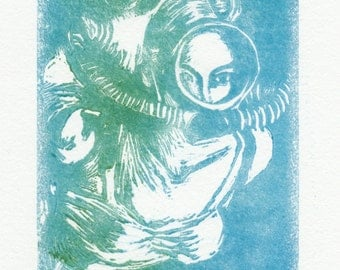 Original Fine Art Linoleum Cut Print - Vintage Diver - in Variegated Blue & Green