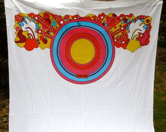 Peter Max Twin Flat Sheet - Vintage 1970s Linens - Mohawk Muslin Bed Linens - Psychedelic Color Bedroom