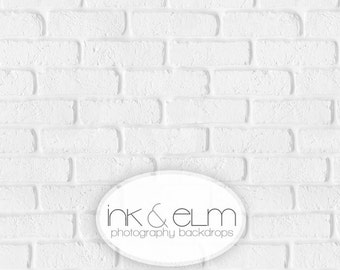 """Vinyl Product Photography Backdrop 2ft x 2ft, Fresh White Brick Wall Backdrop, Food and Cake Photography Background """"Fresh White Brick"""""""