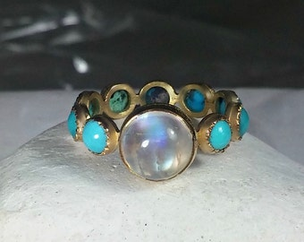 Turquoise and Moonstone solid gold eternity ring,  18 kt solid gold  gemstone band, Size 5  endless turquoise and gold ring