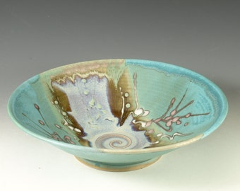Serving Bowl, ceramic bowl, turquoise, stoneware, for fruit and salad