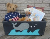 Toy Box NAUTICAL WHALE - Hand Painted Primitive/Rustic - Hand Crafted In Michigan