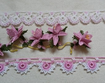 White&Pink oya flowers and beaded lace combo