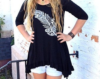 SALE Black Tunic Top With Feather Print