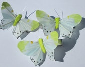 yellow and white feather butterfly hand made hair clip by Ziporgiabella