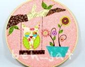 Rose Quartz Owl Hoop Art - Rose Quartz Art For Girl - Unique Baby Gift - Nursery Owl Art - Bohemian Baby - Shabby Chic baby - Owl Lover Art